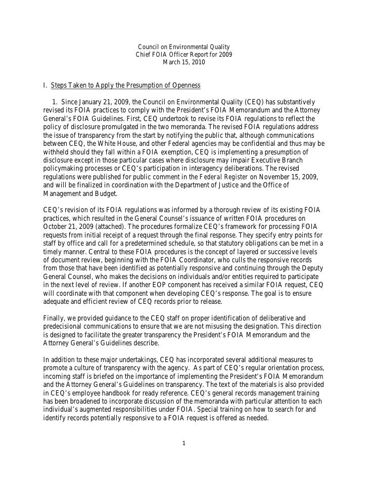 Council on Environmental Quality                                 Chief FOIA Officer Report for 2009                       ...