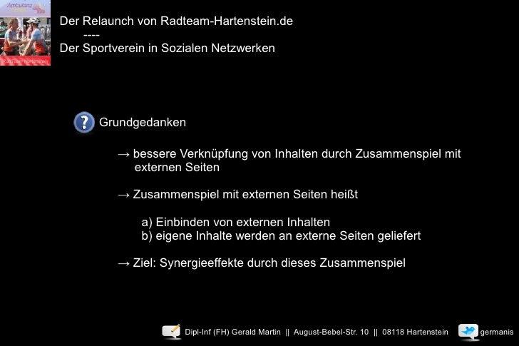 Der Relaunch von Radteam-Hartenstein.de     ---- Der Sportverein in Sozialen Netzwerken           Grundgedanken           ...