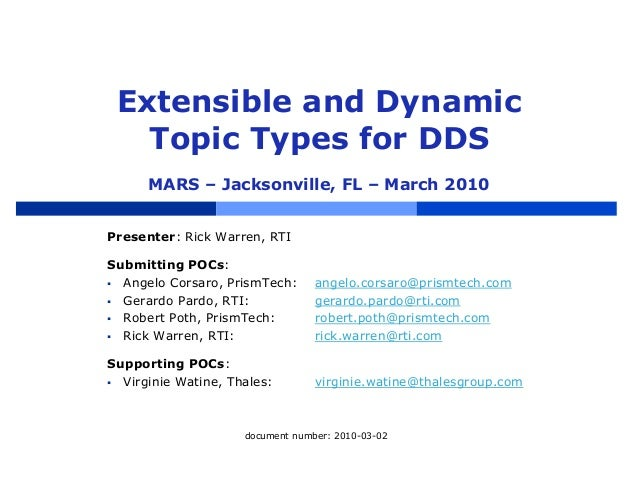 Extensible and Dynamic Topic Types for DDS