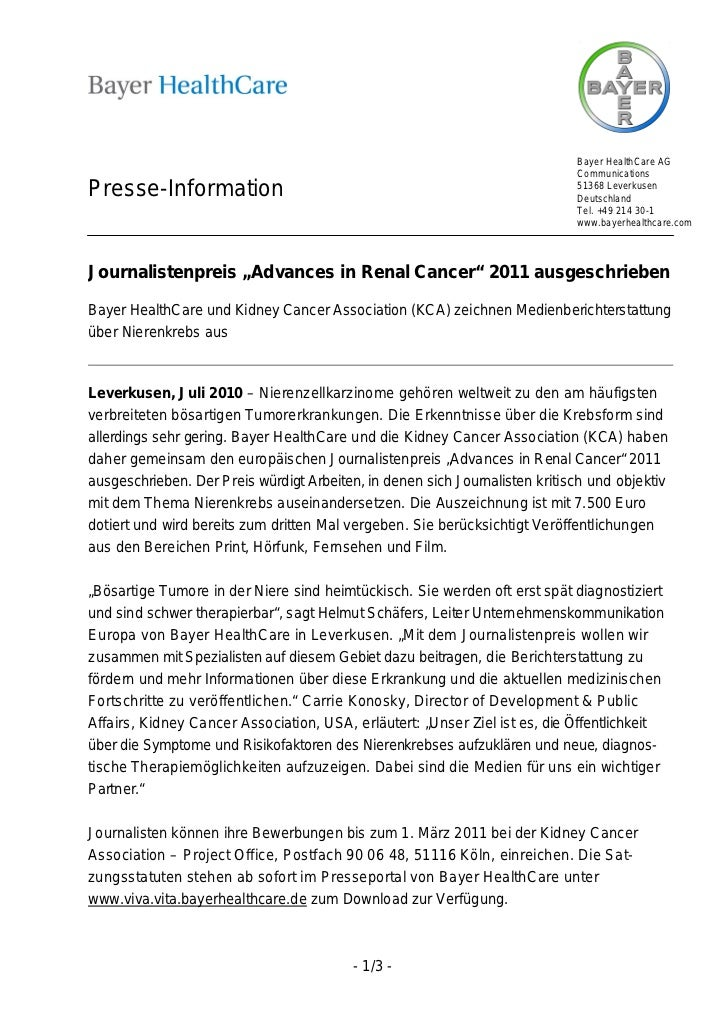 Bayer HealthCare AG                                                                             CommunicationsPresse-Infor...