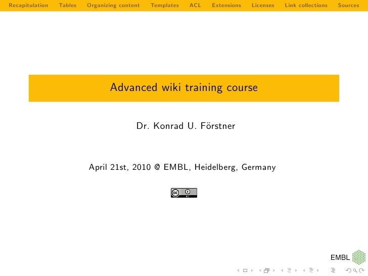 Advanced Wiki training course