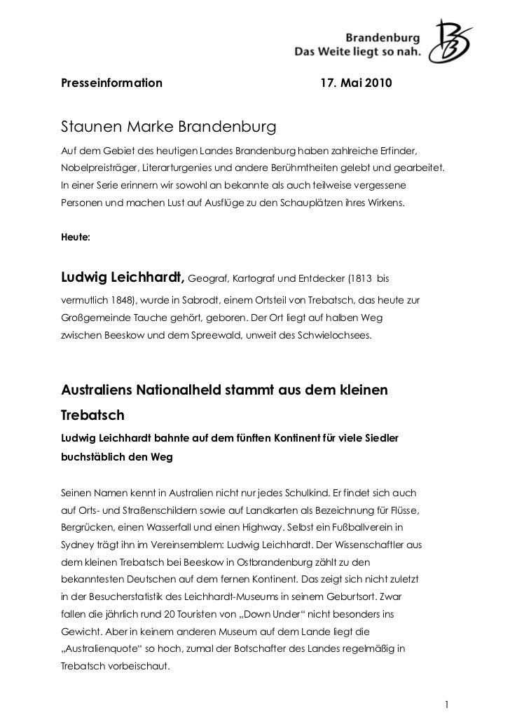 Presseinformation                                        17. Mai 2010Staunen Marke BrandenburgAuf dem Gebiet des heutigen ...