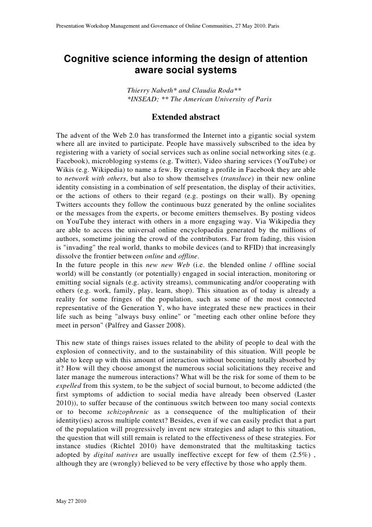 2010.05.27 abstract-cognitive science informing the design of attention aware social systems