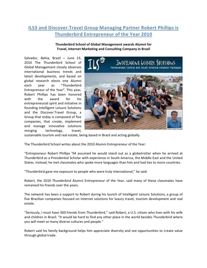 ILS3 and Discover.Travel Group Managing Partner Robert Phillips is  Thunderbird Entrepreneur of the Year 2010