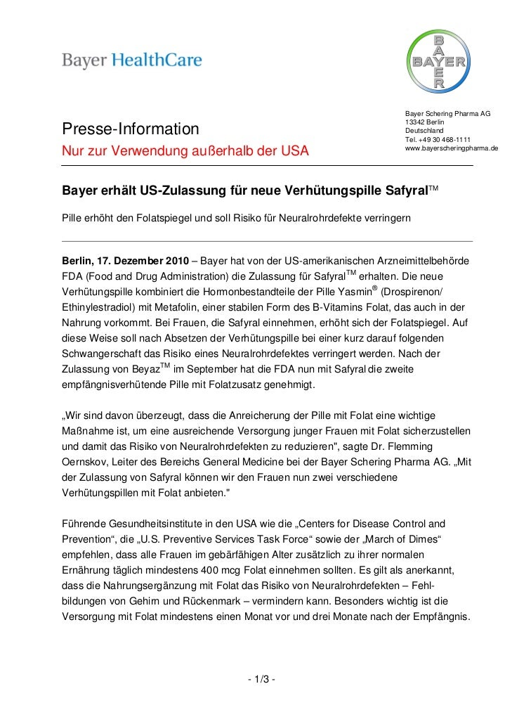 Bayer Schering Pharma AG                                                                            13342 BerlinPresse-Inf...