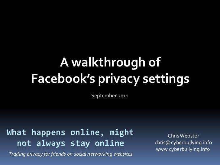 A Walkthrough of Facebook's Privacy Settings