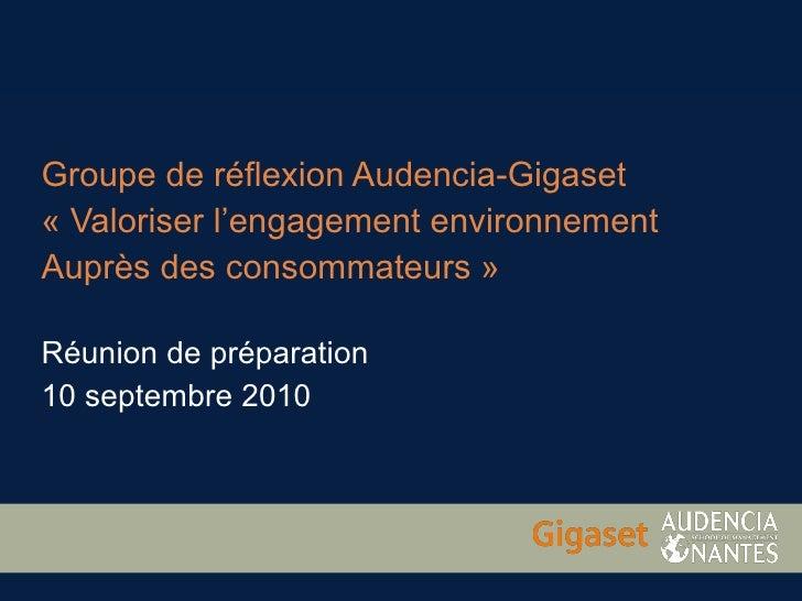 Réunion de préparation du groupe de réflexion Audencia-Gigaset