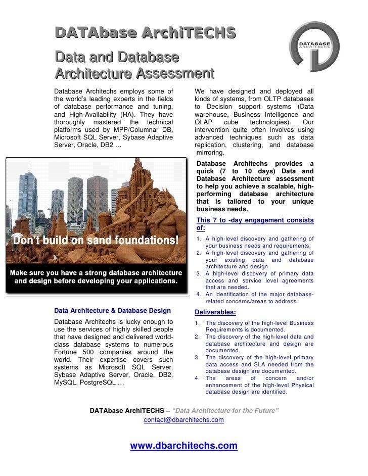 DATAbase ArchiTECHS Data and Database Architecture Assessment Database Architechs employs some of         We have designed...