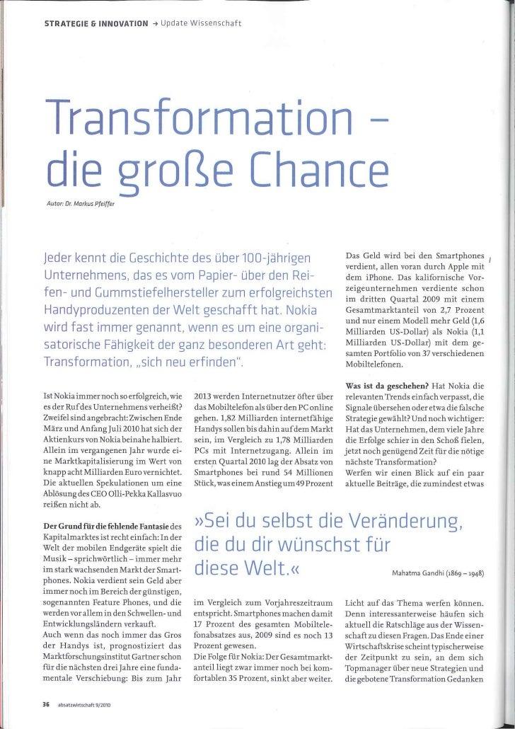 Transformation - die grosse Chance