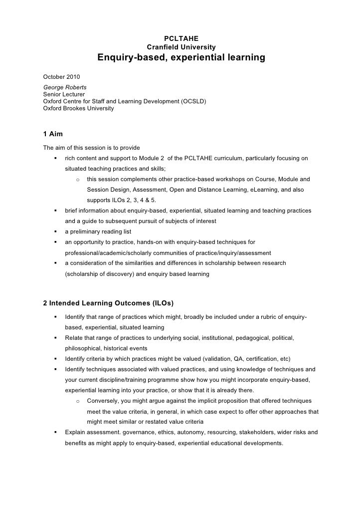 PCLTAHE                                         Cranfield University                     Enquiry-based, experiential learn...