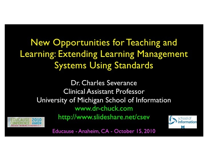 Educuase: New Opportunities for Teaching and Learning: Extending Learning Management Systems Using Standards