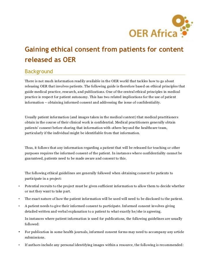 Gaining ethical consent from patients for content    released as OER    Background    There is not much information readil...