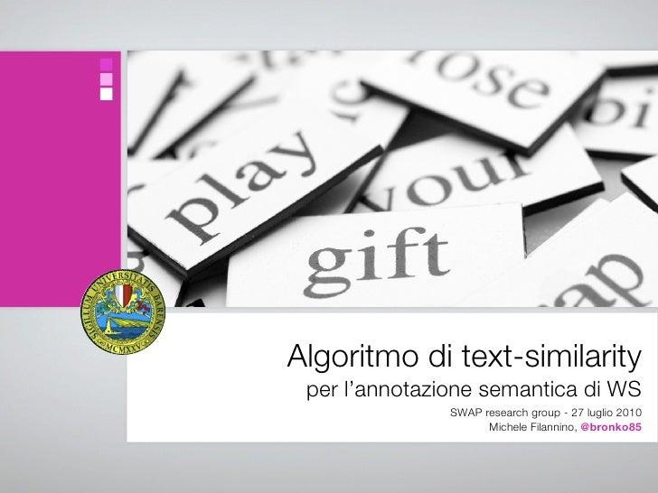 Algoritmo di text-similarity per l'annotazione semantica di Web Service