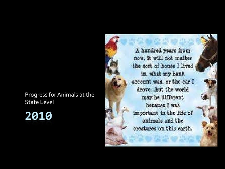 2010<br />Progress for Animals at the<br />State Level<br />