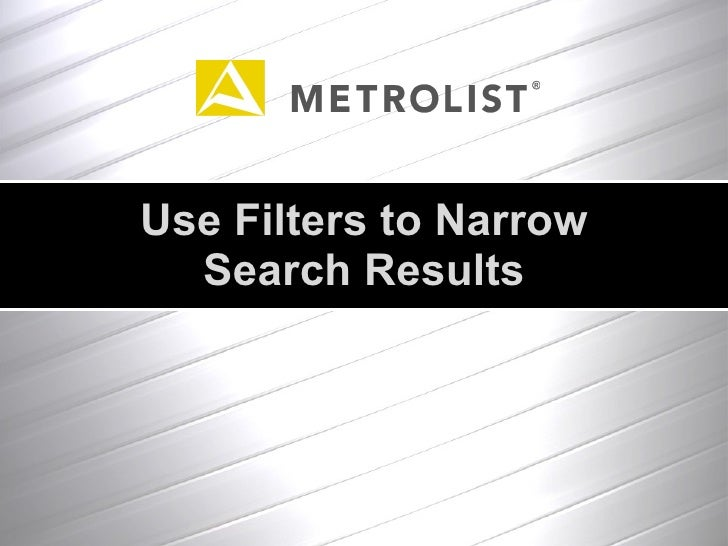 Use Filters to Narrow Search Results