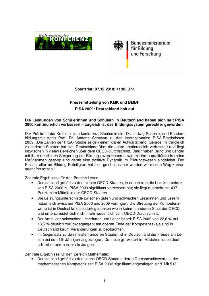 Sperrfrist: 07.12.2010; 11:00 Uhr                          Pressemitteilung von KMK und BMBF                             P...