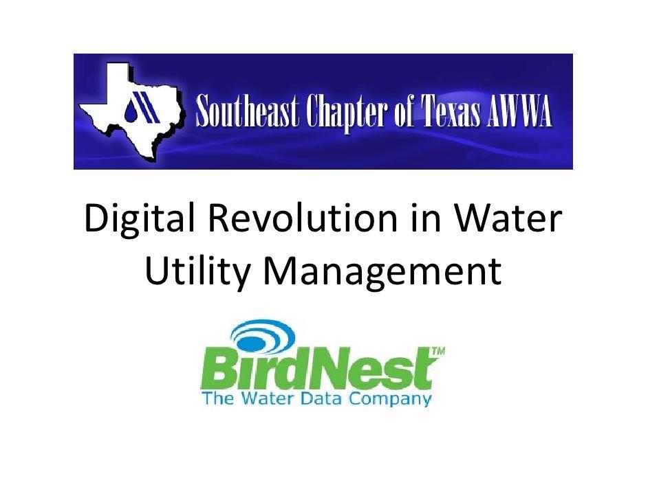 DigitalRevolutioninWaterDigital Revolution in Water   UtilityManagement   Utility Management