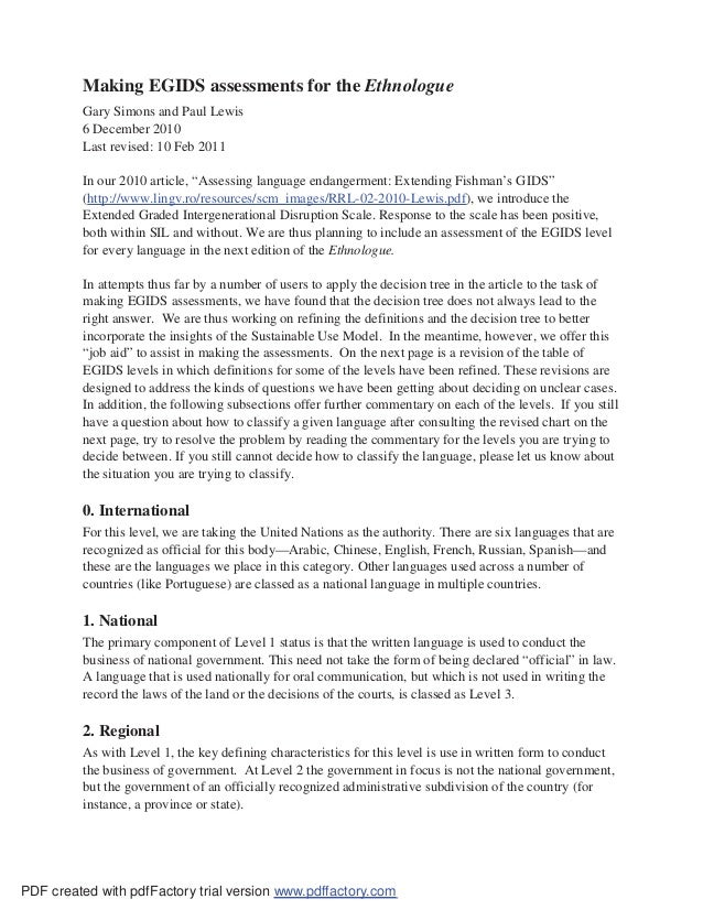 Making EGIDS assessments for the Ethnologue         Gary Simons and Paul Lewis         6 December 2010         Last revise...