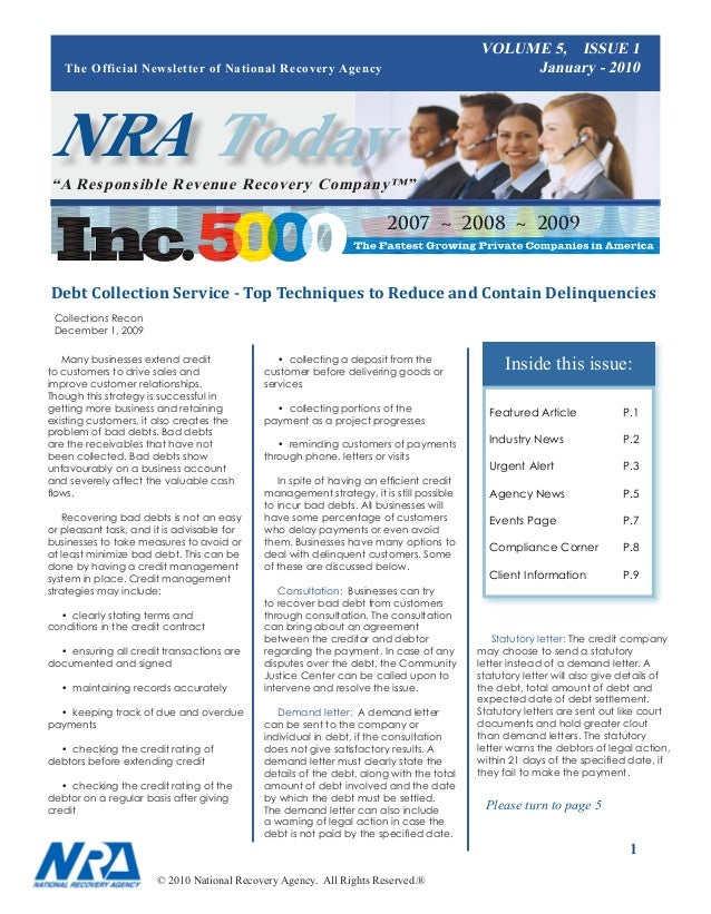VOLUME 5, ISSUE 1   The Official Newsletter of National Recovery Agency                                       January - 20...