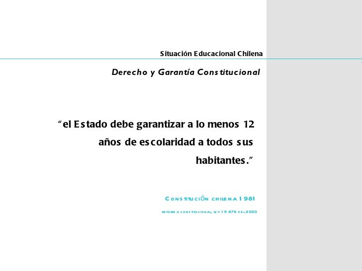"S ituación E ducacional C hilena           Derecho y Garantía Cons titucional"" el E s tado debe garantizar a lo menos 12  ..."