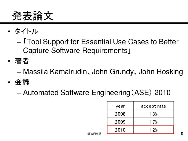 発表論文• タイトル  – 「Tool Support for Essential Use Cases to Better    Capture Software Requirements」• 著者  – Massila Kamalrudin、...