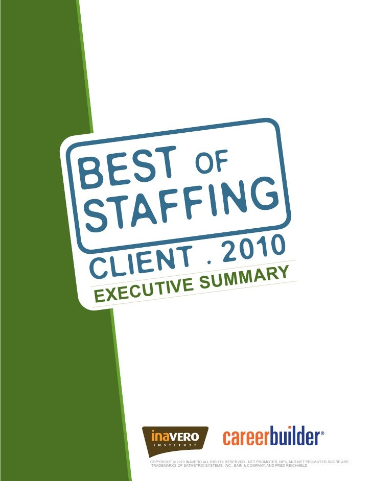 2010 Best Of Staffing Exec Summary