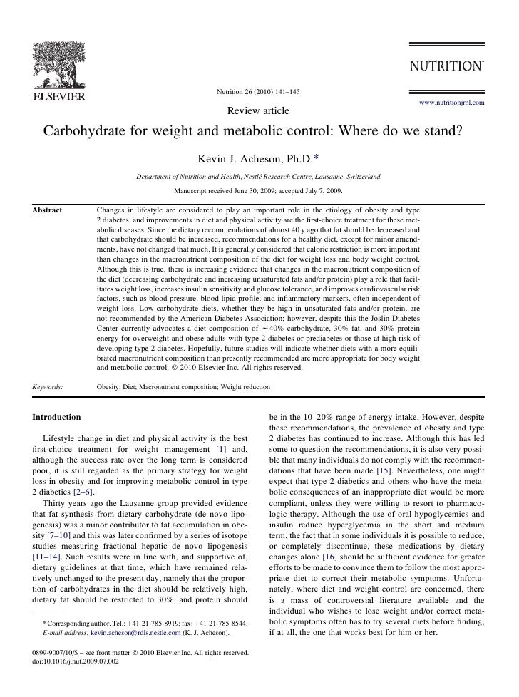 2010 carbohydrate for weight and metabolic control- where do we stand