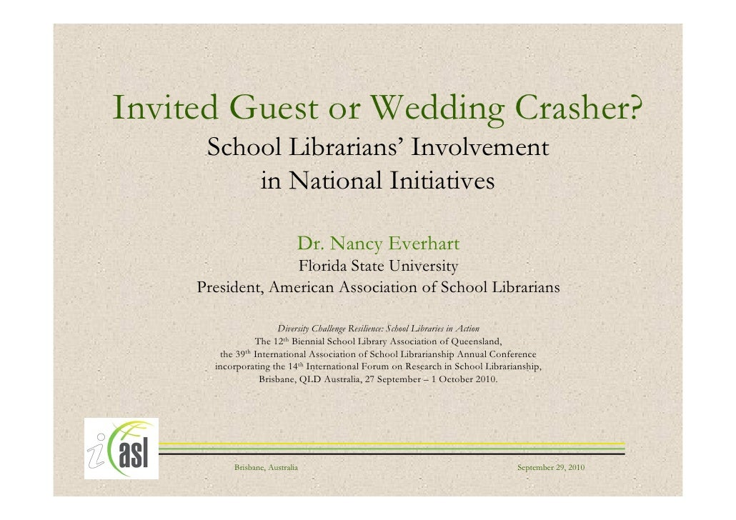 Invited guest or wedding crasher? School librarians' involvement in national iniatives