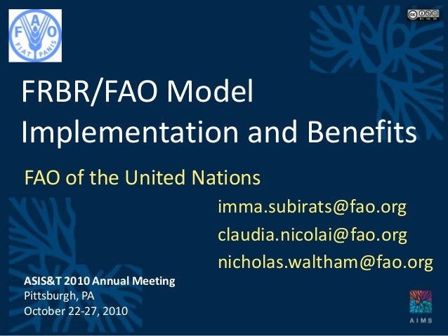 FRBR/FAO Model Implementation and Benefits