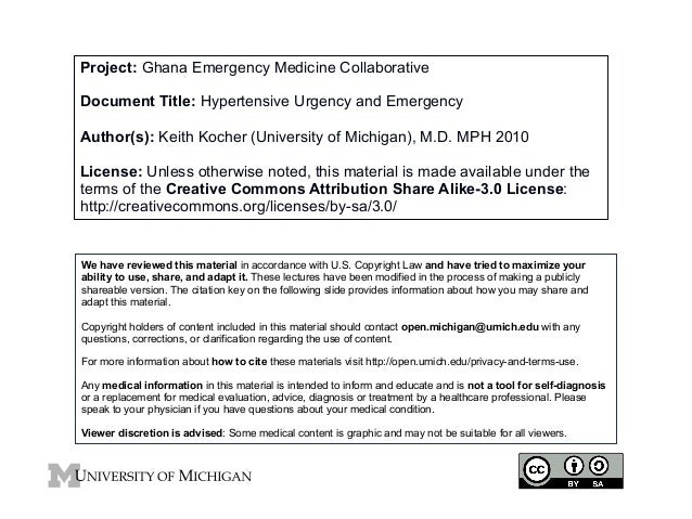 Project: Ghana Emergency Medicine Collaborative Document Title: Hypertensive Urgency and Emergency Author(s): Keith Kocher...