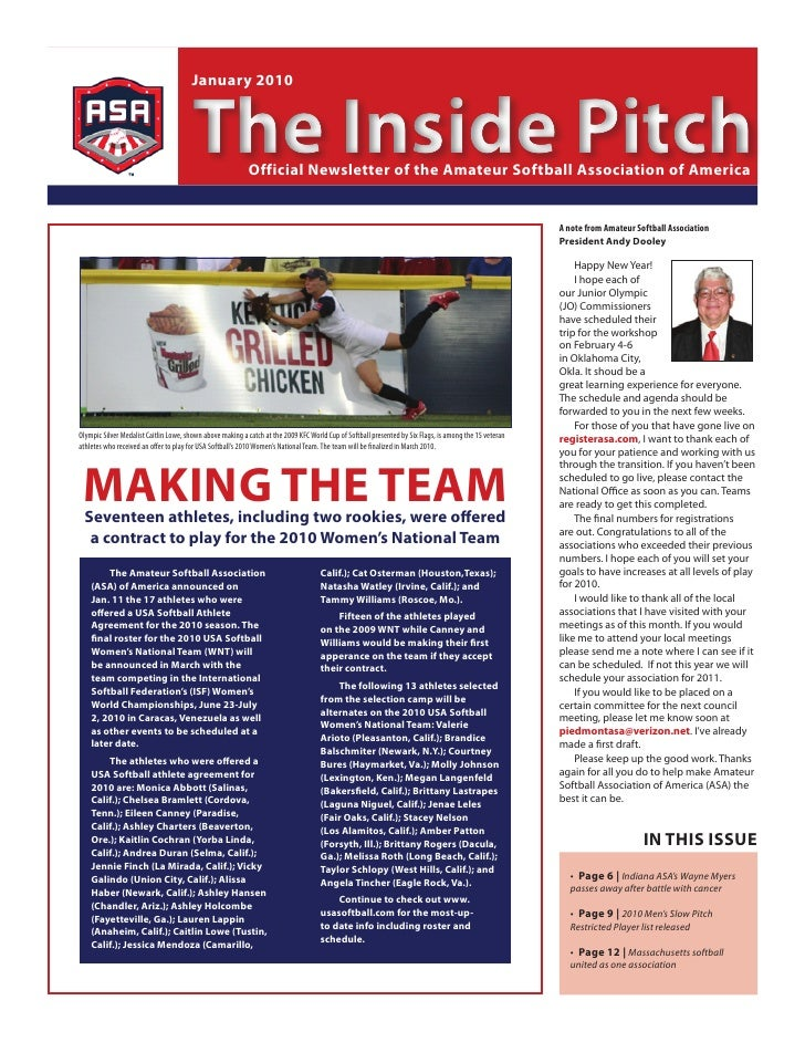 January 2010                                           The Inside Pitch    Official newsletter of the Amateur softball Ass...