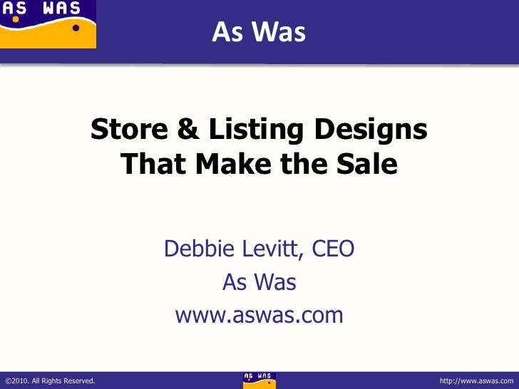 eBay Radio Party 2010 - Store & Listing Designs That Make the Sale - Debbie Levitt
