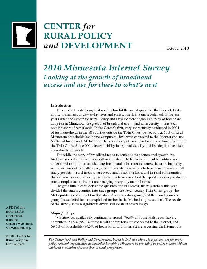2010 Minnesota Internet Survey: A Look at Rural and Metropolitan Broadband Access