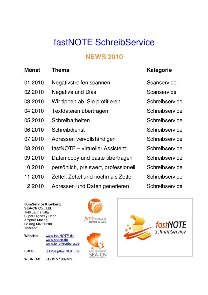 fastNOTE SchreibService                                  NEWS 2010Monat          Thema                                  Ka...