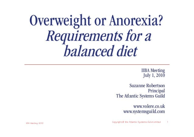 Requirements - Overweight or Anorexia?