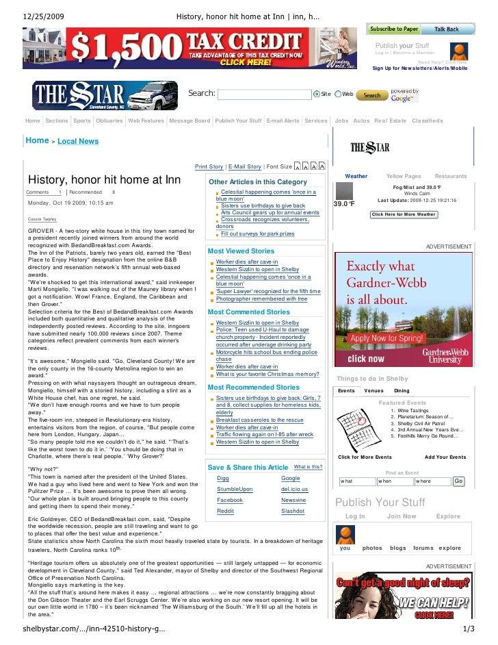 12/25/2009                                                History, honor hit home at Inn | inn, h…                        ...