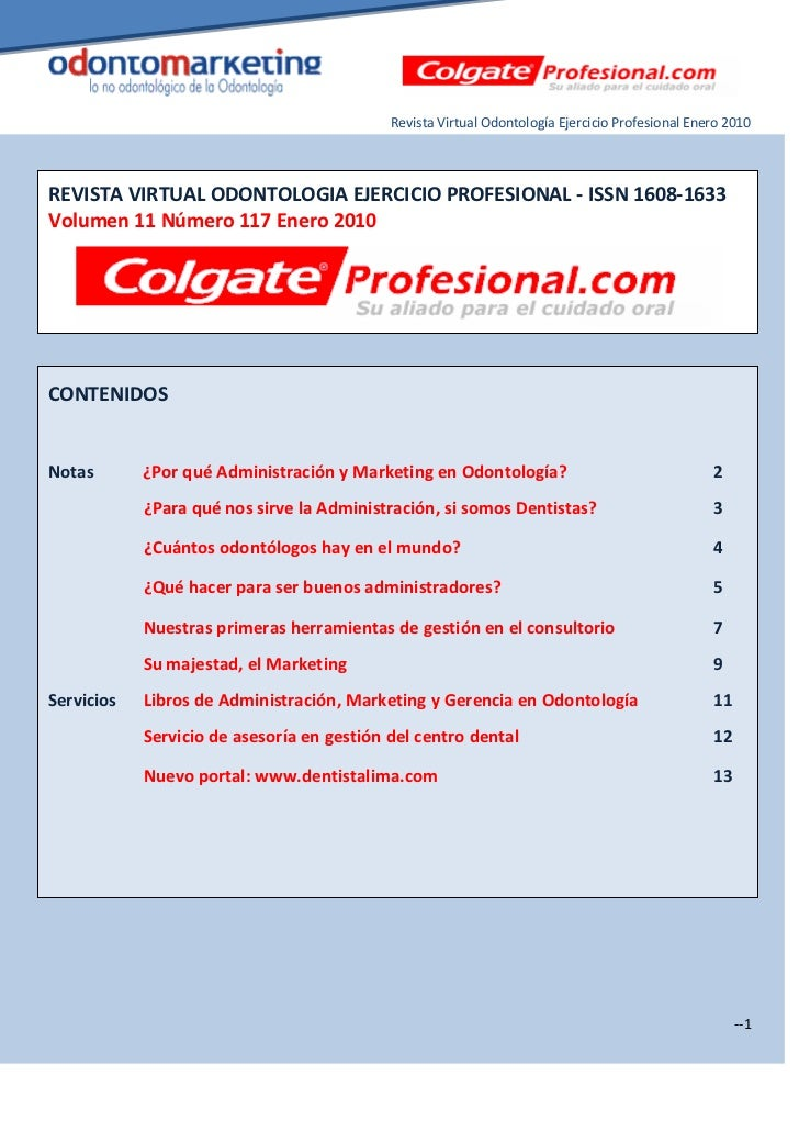 Marketing dental Revista Virtual Odontología Ejercicio Profesional Enero 2010