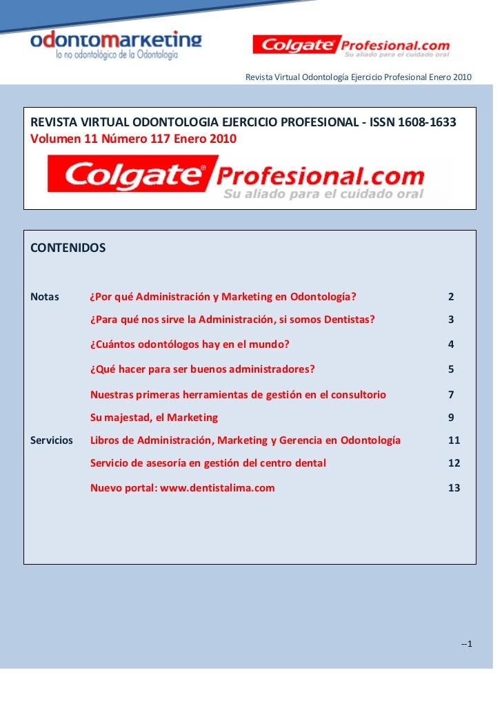 Marketing dental Revista Virtual Odontología Ejercicio Profesional Enero 2010