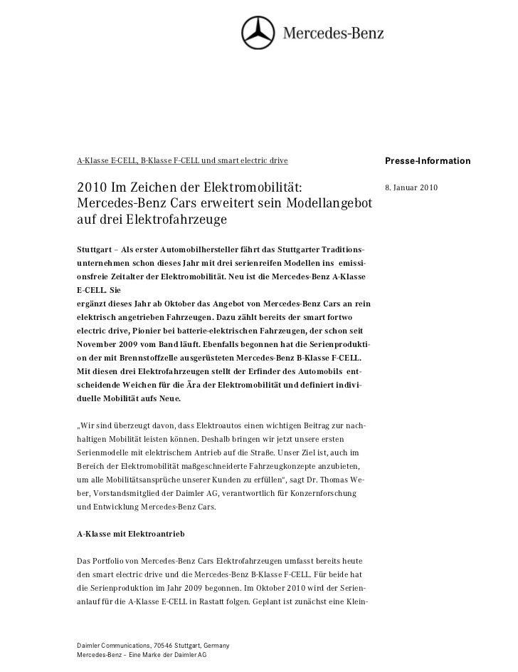 A-Klasse E-CELL, B-Klasse F-CELL und smart electric drive                            Seite 1                              ...