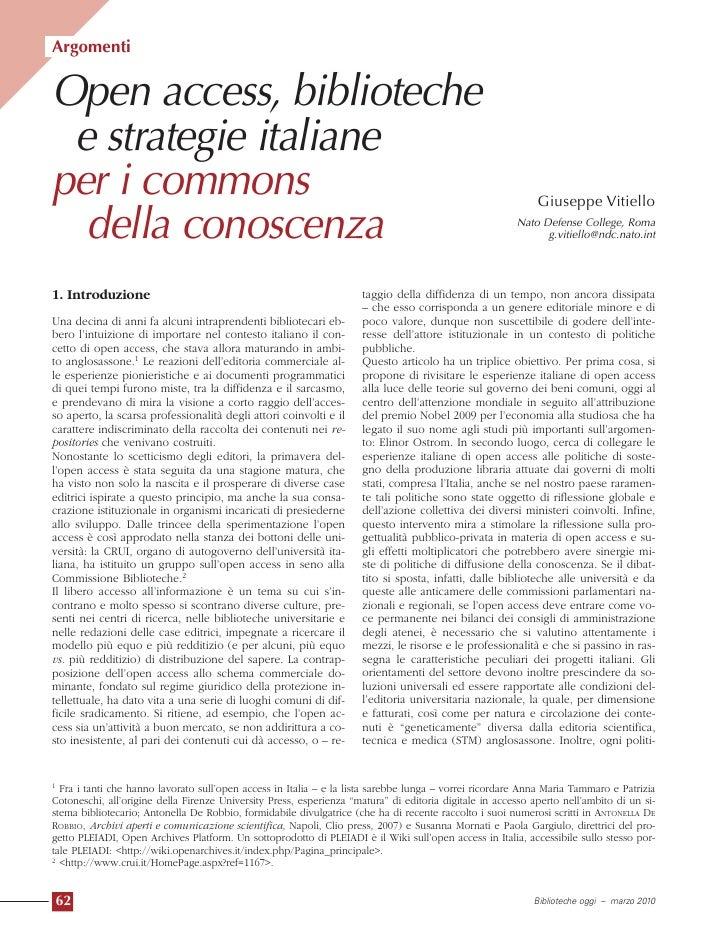Argomenti   Open access, biblioteche  e strategie italiane per i commons                                                  ...