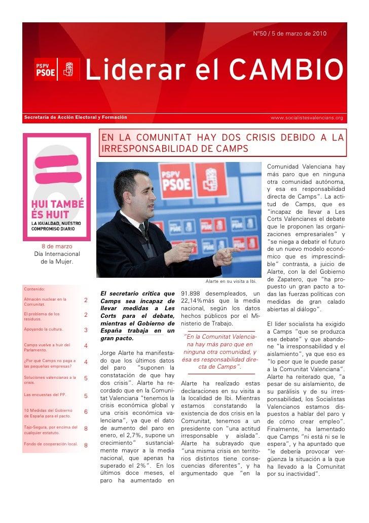 Nº50 / 5 de marzo de 2010                                   Liderar el CAMBIO Secretaría de Acción Electoral y Formación  ...