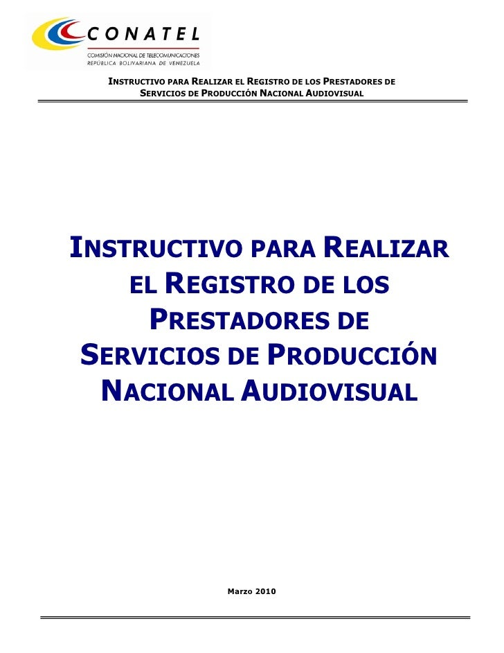 Instructivo Registro PNA (Conatel, marzo 2010)