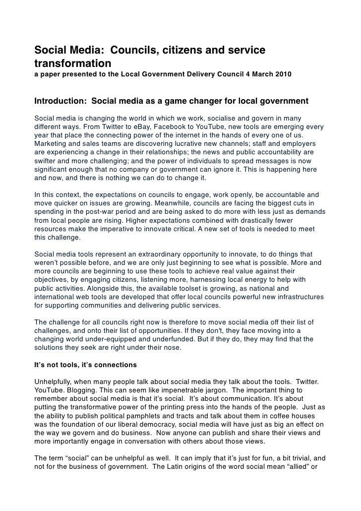 Social media: Councils, citizens and service transformation