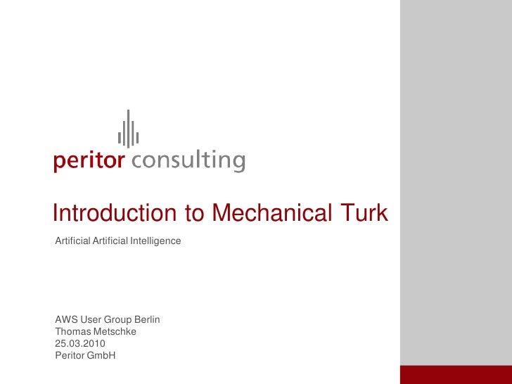 AWS User Group Berlin - Introduction To Amazon Mechanical Turk