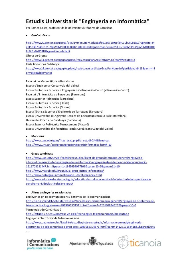 Oferta universitària - Informatica i comunicacions Professions de Futur