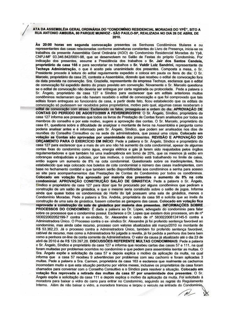 Ata Assembléia Ordinária - Abril 2010 - Moradas do Ypê