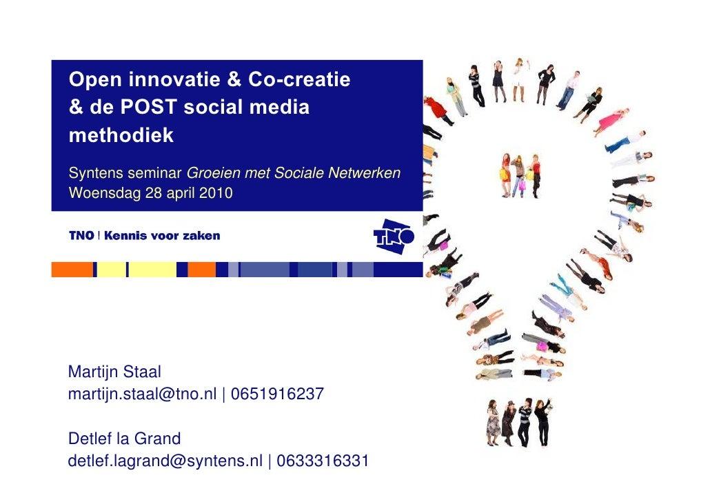 TNO open innovatie & co creatie overzicht op Syntens seminar Groeien met Sociale Netwerken