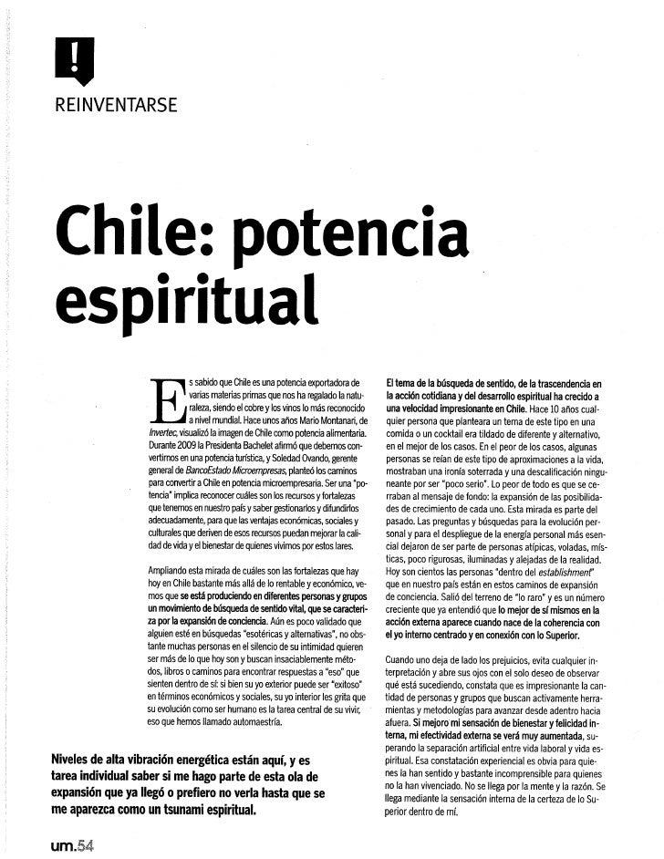 Chile: potencia espiritual, Revista Uno Mismo, abril 2010