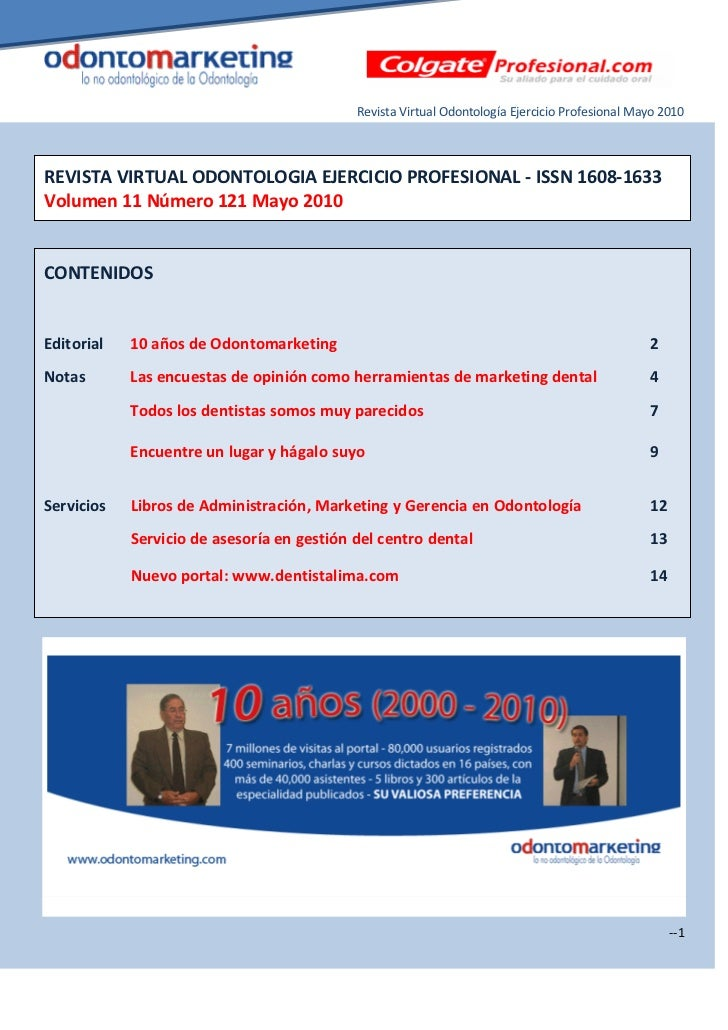 Revista Virtual Odontología Ejercicio Profesional Mayo 2010REVISTA VIRTUAL ODONTOLOGIA EJERCICIO PROFESIONAL - ISSN 1608-1...