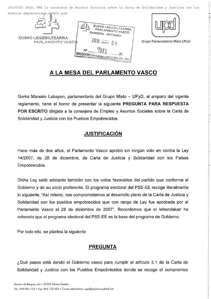 20100505 UPyD. PRE la consejera de Asuntos Sociales sobre la Carta de Solidaridad y Justicia con losPueblos Empobrecidos (...